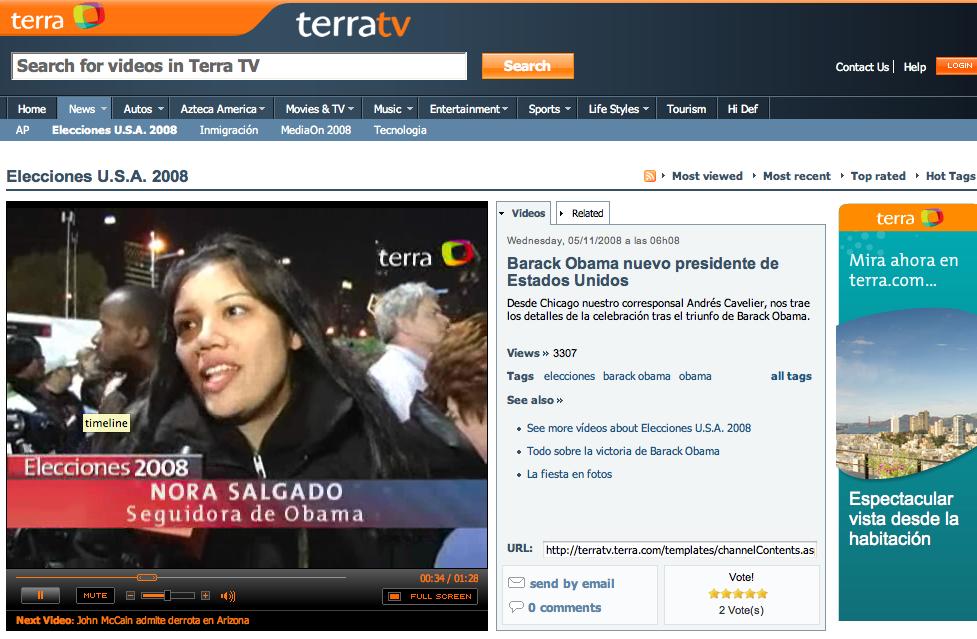 Terra.com Obama victory
