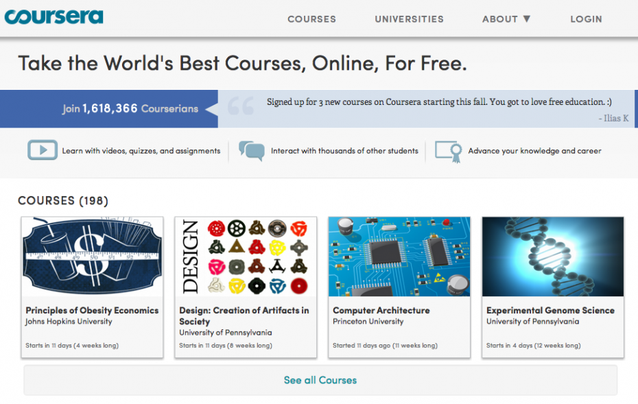 Coursera, one of the leading e-learning platforms